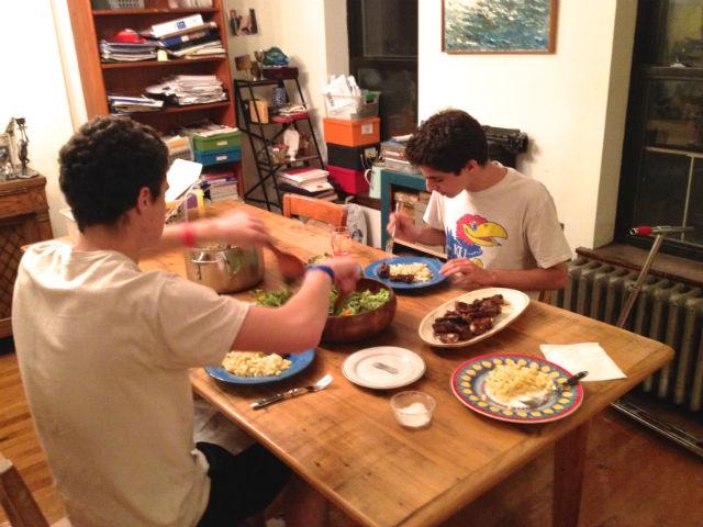 Ken Carlton kids at dinner