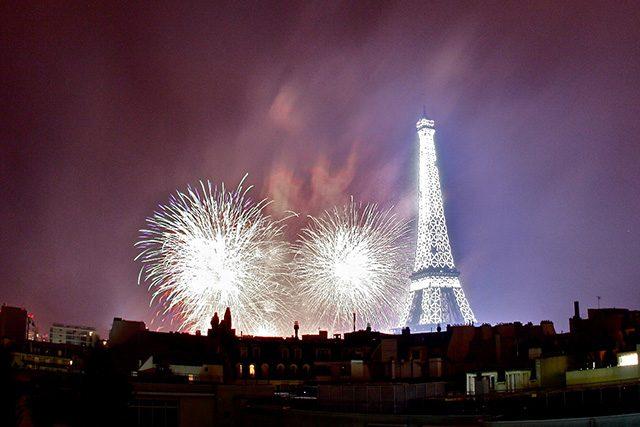 Bastille Day fireworks around Eiffel Tower