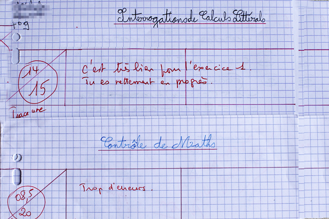 Tough grading system in French schools