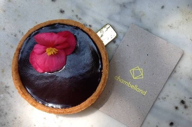 chocolate gluten-free tart from Chambelland Bakery in Paris