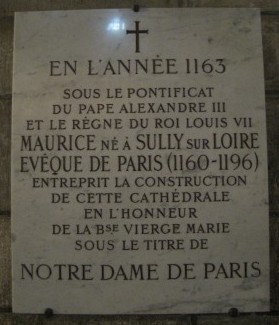 Cornerstone in Notre Dame Cathedral