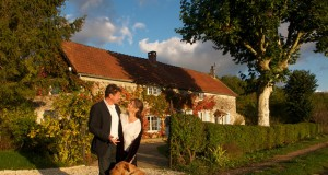 Lee Yanowitch and husband Philippe Chamaillard in front of their B&B in Burgundy, France