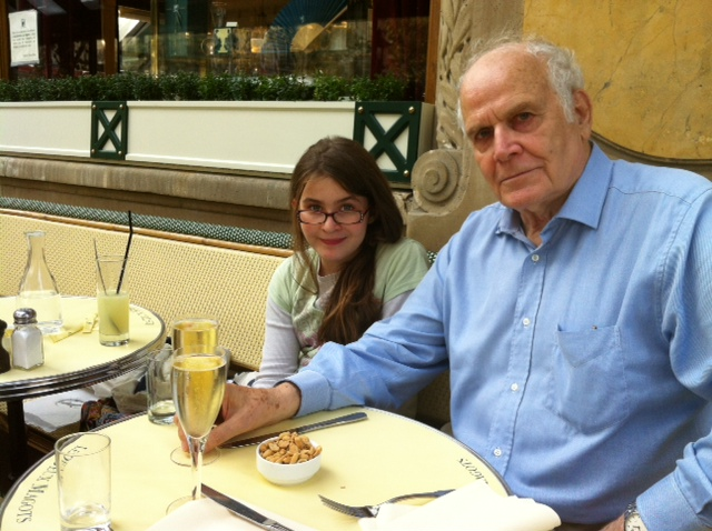 Co-founder of Paris for Seniors Keith Spicer with his granddaughter Grace in Paris. Photo © Genevieve Spicer
