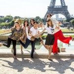 Women having fun-Eiffel Tower