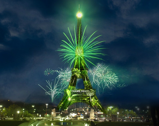 Eiffel Tower covered in viral trees that will transform into real trees to be planted in 1 Heart 1 Tree project.