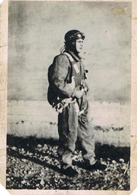 Parachutist who landed in Normandy after D-Day landing. Photo courtesy of author