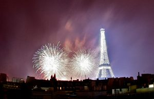 Bastille Day fireworks around Eiffel Tower