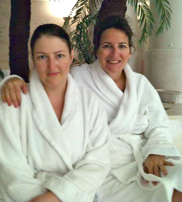 Liz Brahy and friend at spa