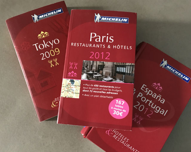 Michelin Restaurant Guide Books. Photo courtesy of author