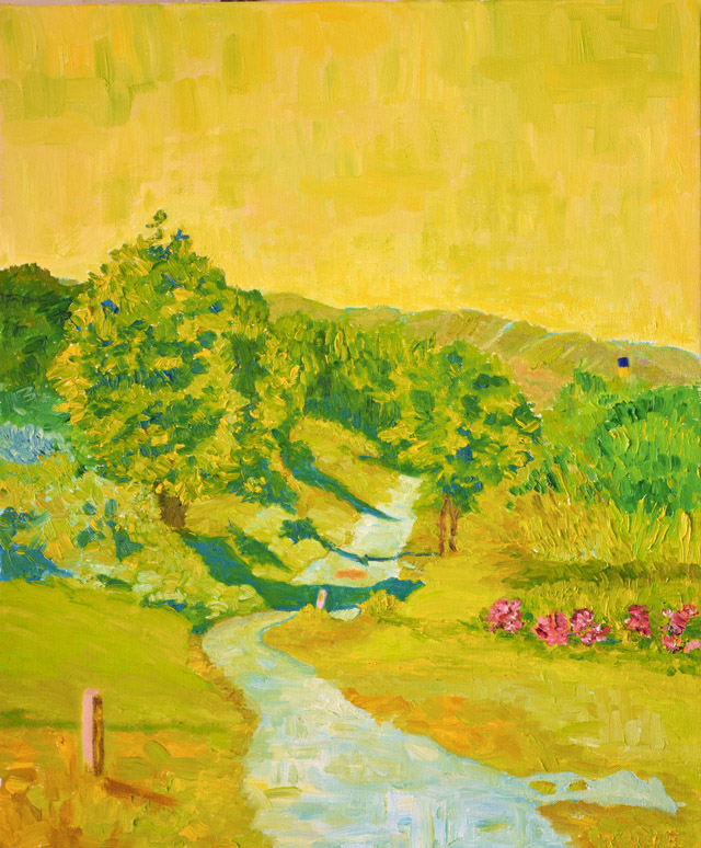 Painting of a pastoral path by Patty Lurie. Photo courtesy of author