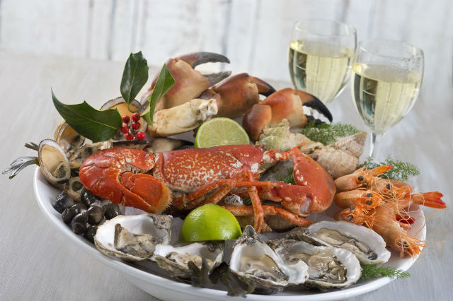 seafood and festive wines