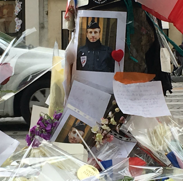 Homage to French Police officer Xavier Jugele