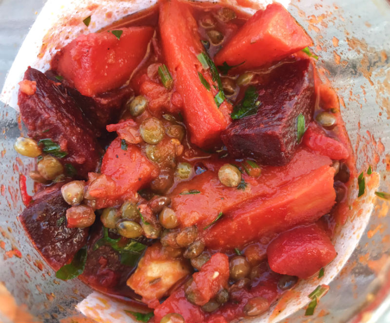 smoked vegetables and lentils