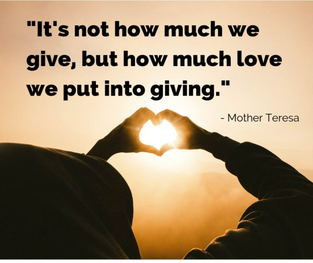 Mother Teresa quote on giving